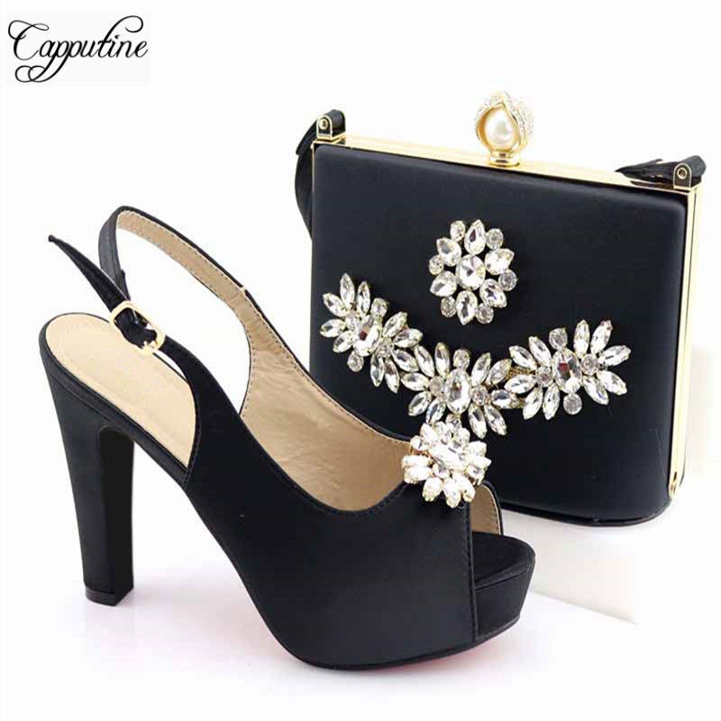 Latest Summer Elegant Women Wedding Shoes And Bag Set African Decorated With Rhinestone High Heels Shoes