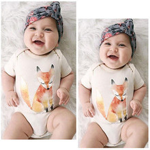 Newborn baby clothes Summer Toddlers Children Girl Boy Short sleeve Clothes Fox Sliders Overalls Dresses