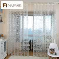 NAPEARL style américain jacquard conception florale fenêtre rideau transparent pour chambre tulle tissu salon moderne prêt à l'emploi court