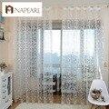 Estilo americano cortina da janela jacquard design floral tecidos de tule pura para o quarto sala de estar moderna projeto ready made curto