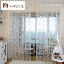 NAPEARL American style jacquard floral design window curtain sheer for bedroom tulle fabric living room modern ready made short cheap Translucidus (Shading Rate 1 -40 ) Yarn Dyed Rope Exterior Installation Office Hotel Cafe Home Left and Right Biparting Open