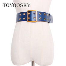 2019 New Trendy Retro Women Belt ConcaveVersatile Design Double Needle PU Leather Decorative Dress Waist Belt for Women Ladies trendy pu leather square neck overall dress for women