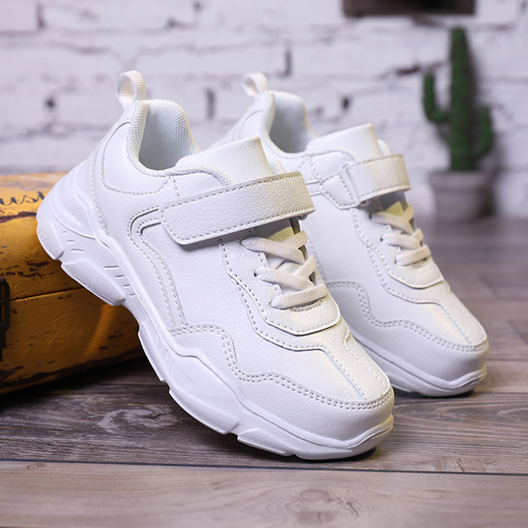 ULKNN Children's Sports Boys' Shoes New Waterproof Leather Single Shoes Campus Girls Shoes Boys Black Sneakers Casual