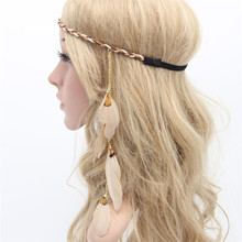 Fashion Bohemia headband Accessories Flocking Hair band Indian Feather Pendant Headband Wing Star Rope Knitted colorful