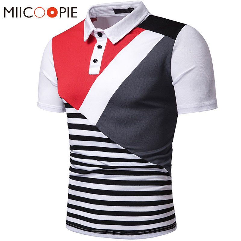 New Fashion Mens Summer Business Casual Breathable Short Sleeve Stripes Patchwork   Polo   Shirt Male Work Clothes Camisa   Polo   Homme