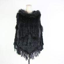 цены на Winter Women Real Rabbit Fur Hooded Poncho Wide Pullover Cape Shawl Fur Coat Hooded fur ponchos  в интернет-магазинах