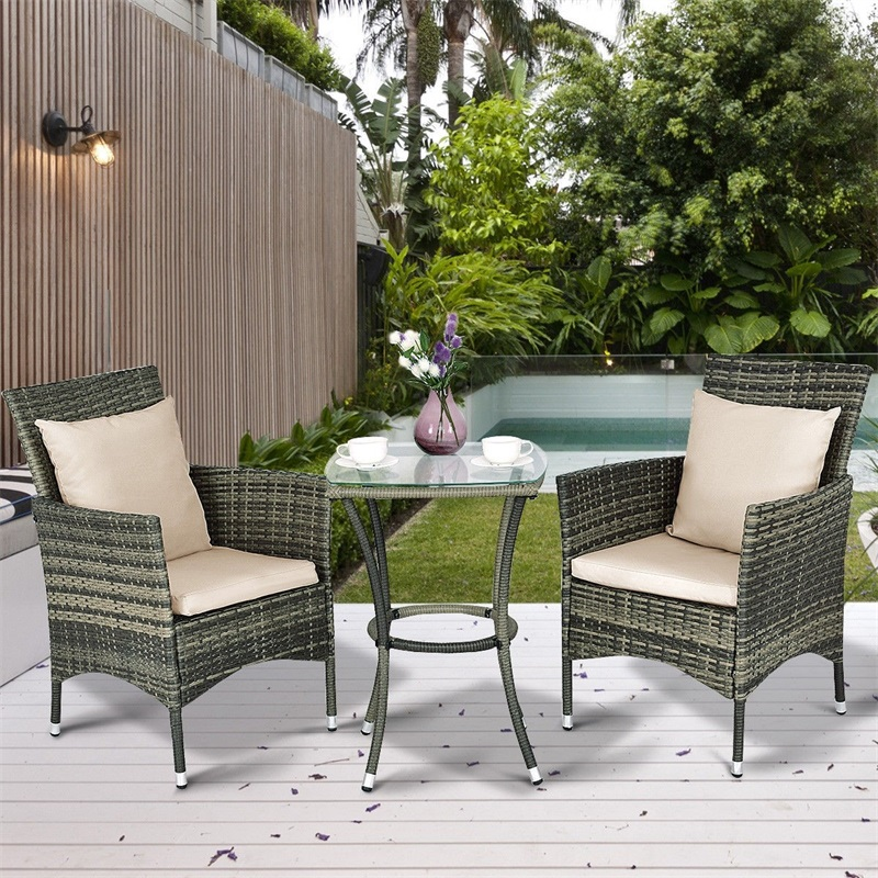 3 Pcs Patio Rattan Chairs And Table Set With Cushions Rattan Steel Glass Countryside Outdoor Patio Furniture HW54828