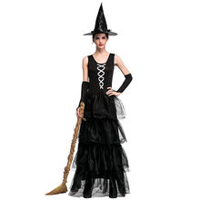 7686b16f8b8 Gothic Halloween Dress Costume Sexy Witch Vampire Costume Women Black Masquerade  Party Ghost Cosplay Dress+Hat+Bracelet