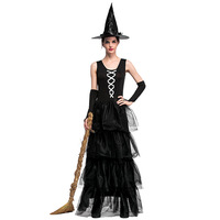 Gothic Halloween Dress Costume Sexy Witch Vampire Costume Women Black Masquerade Party Ghost Cosplay Dress+Hat+Bracelet
