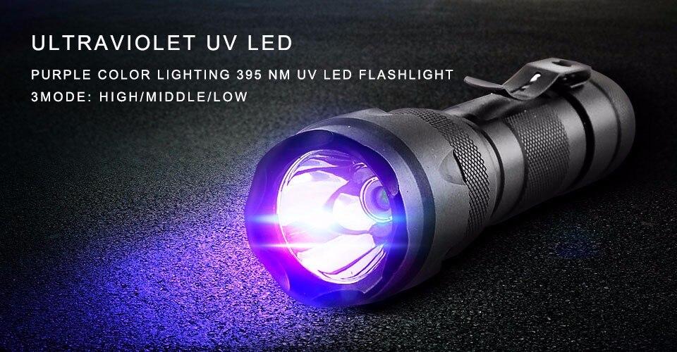 LED UV Flashlight 18650 Ultra Violet flash Torch Light Blacklight 365nm Lamp