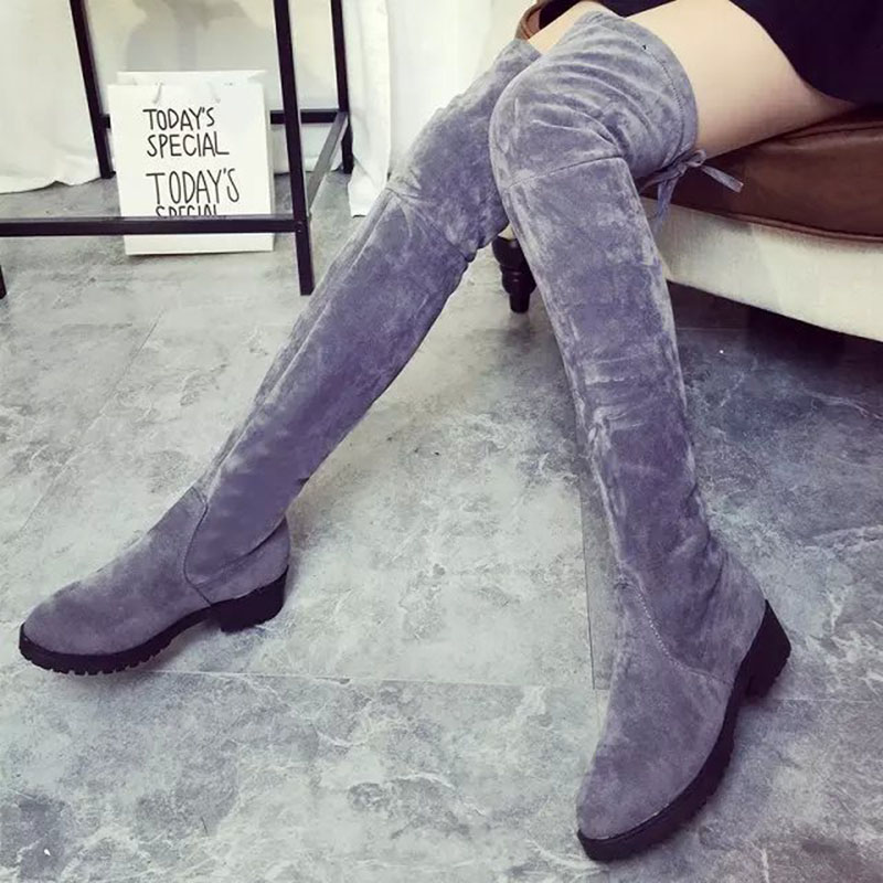 Black Suede Ladies Over The Knee Boots Sexy Nubuck Thigh High Heels Winter Women Shoes Leather Woman Fashion Boots Size 35-39