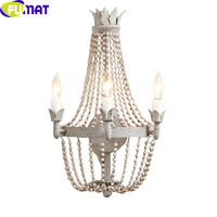 FUMAT French Wooden Beads Lamp Lights Crystal Retro Wall Light for Kitchen Dining Room Bed Room Aisle Staircase Luz de pared