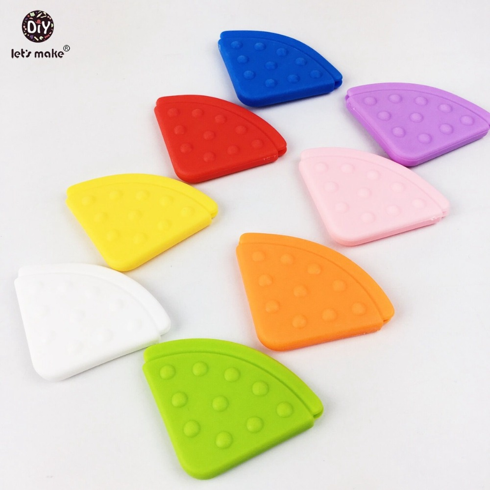 Lets make Pendant Teether Bibs Baby Corner Teether(20pc) BPA Free Teether Safe And Natural Solid Color