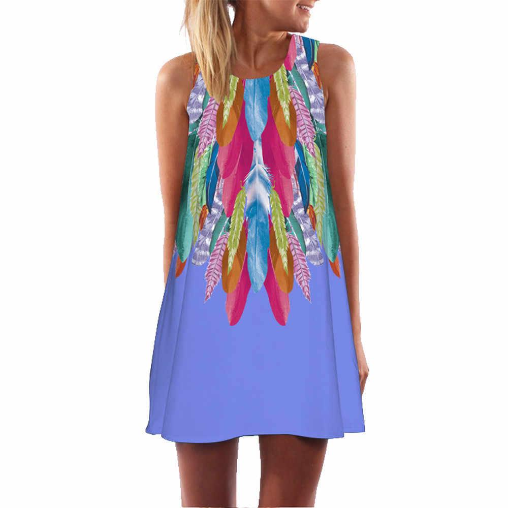 Модное пляжное платье женское платье Лето 2019 сексуальное винтажное платье без рукавов с 3D цветочным принтом Bohe вечернее платье женский халат femme Vestidos