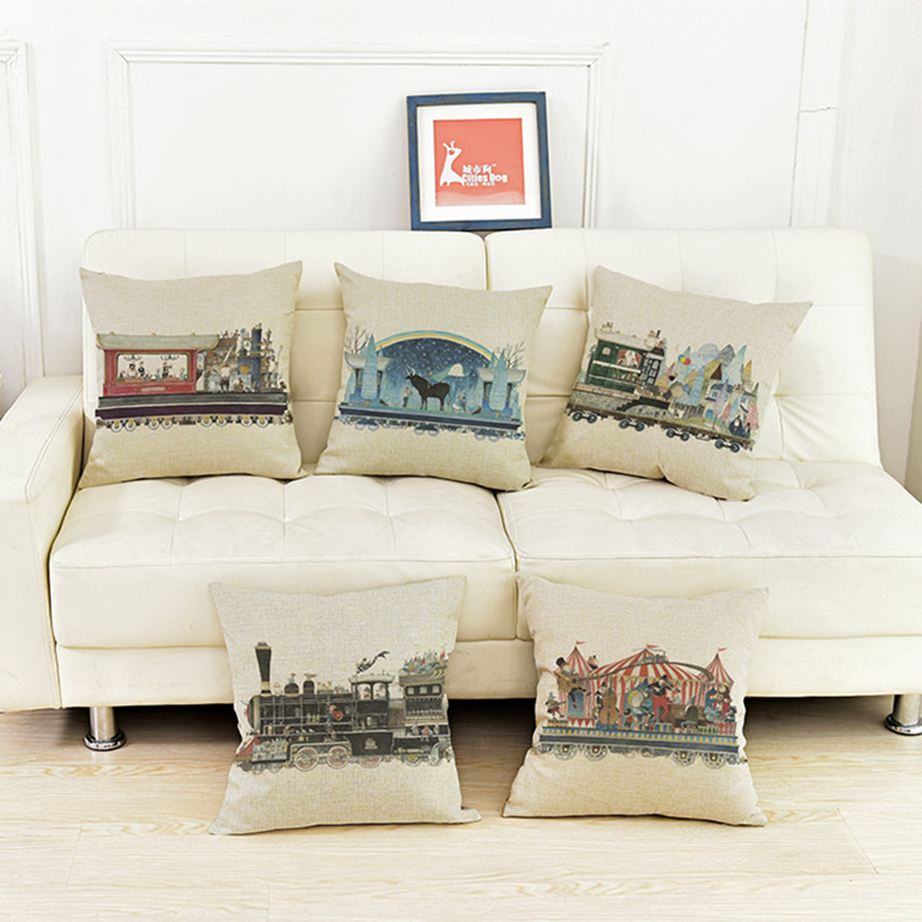 Free shipping novelty cool Christmas gift retro little train pattern linen cotton Cushion Cover throw pillow case home decor