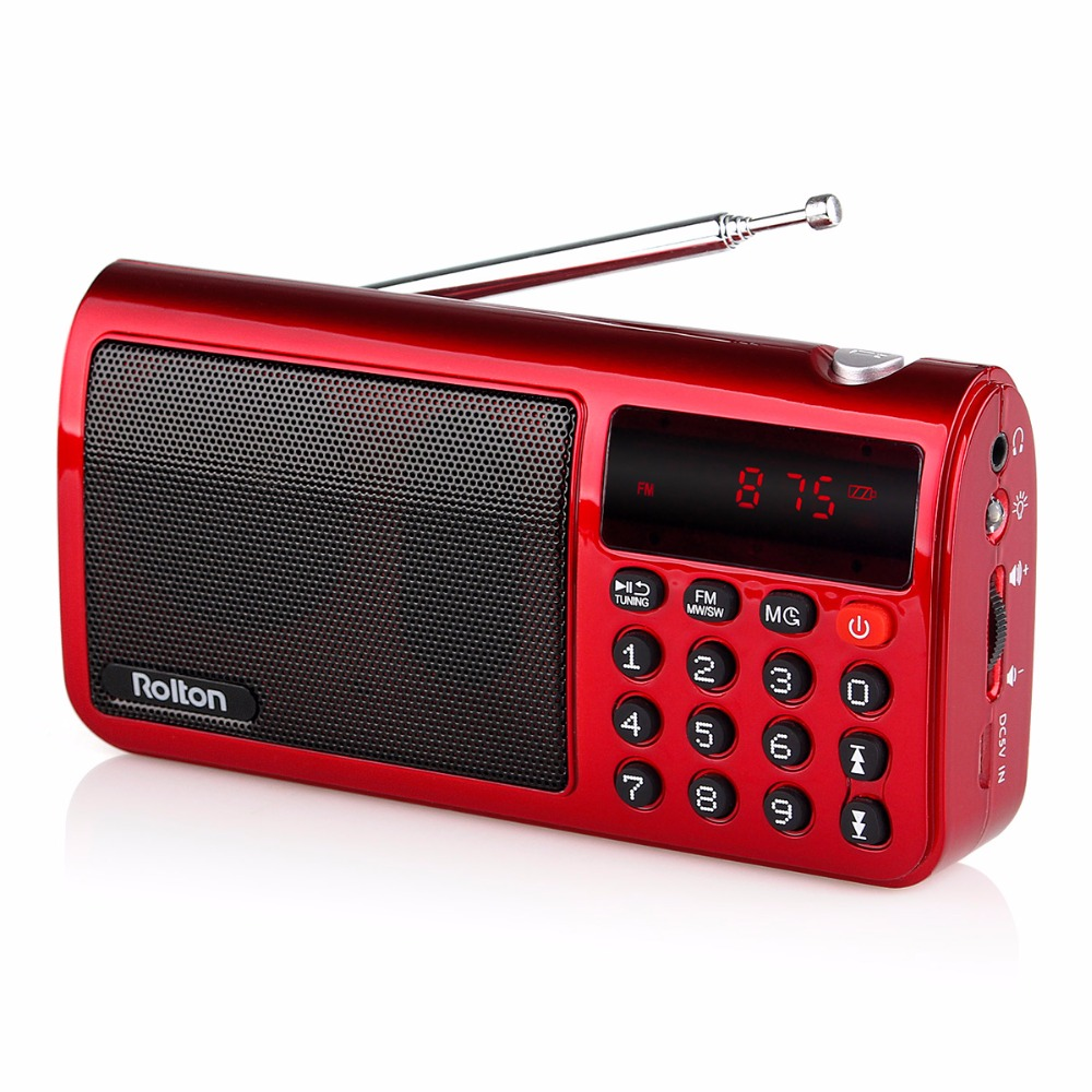 3 Color Rolton T50 Portable FM/MW/SW Radio Speaker MP3 Player with Flashlight Sleep timer Clock 18650 Battery Y4429