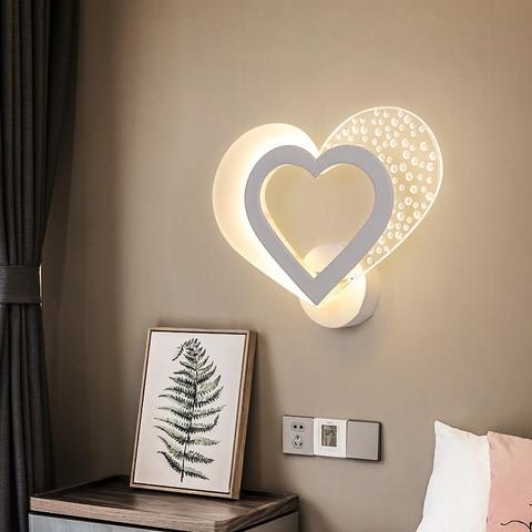 romantico doce coracao lampada de parede moderno e minimalista led lampada cabeceira nordic personalidade criativa