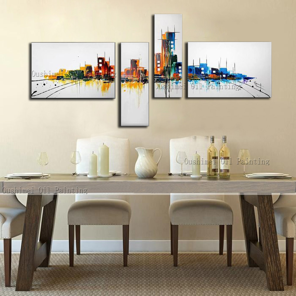 Handmade Modern Oil Painting Hang Paintings Wall Art Abstract Buliding  Streeting Picture Home Decor Group Of Canvas Painting In Painting U0026  Calligraphy From ...