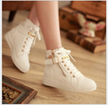 Spring Women Canvas Shoes High Top Fashion Casual Flats Breathable Spring Autumn Lace-up Female Shoes Size 35-40
