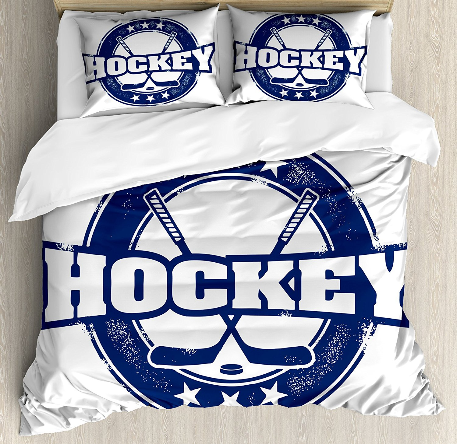 Hockey Duvet Cover Set Weathered Looking Vintage Stamp Composition Text Sticks and Stars in Circle 4 Piece Bedding Set