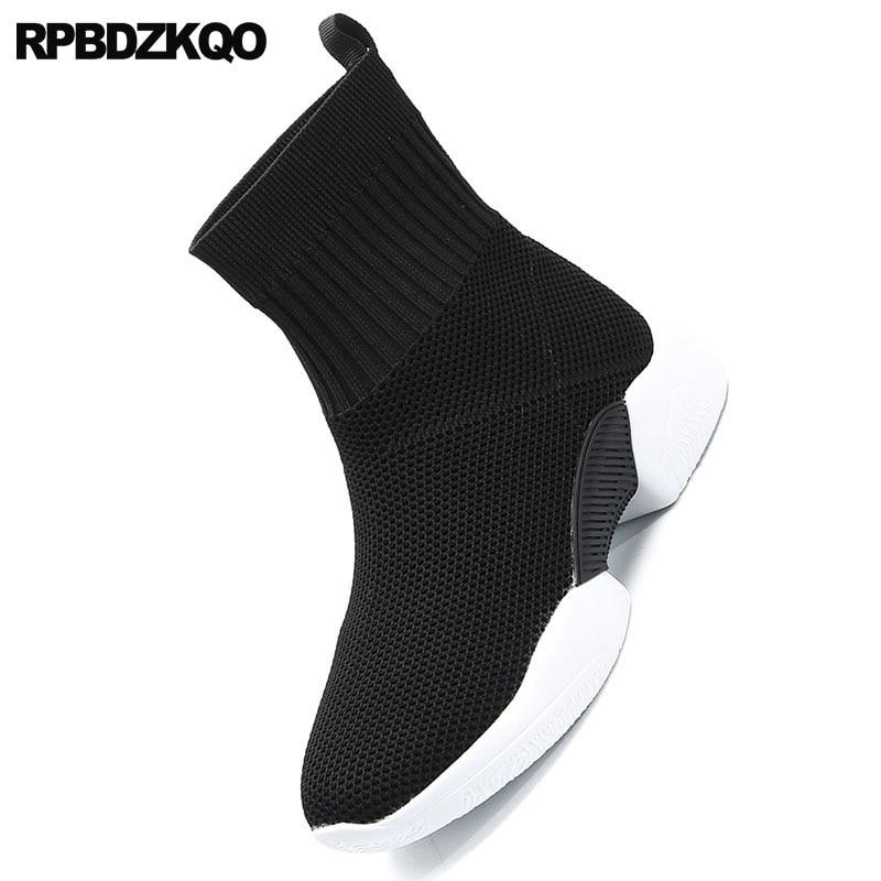 Femmes Slip Stretch Sur Sneakers Maille Noir Chaussures Élastique Luxe Bottes Tricot Marque Casual Wedge Confortable Chaussons Chaussette Designer De zxxvw1UqHn