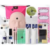 Neue Pro Wimpern Extension Kit Individuelle Falsche Wimpern Flachkopf Curl kleber Werkzeug-set Mit Tasche Für Make-Up Praxis Wimpern Transplantat