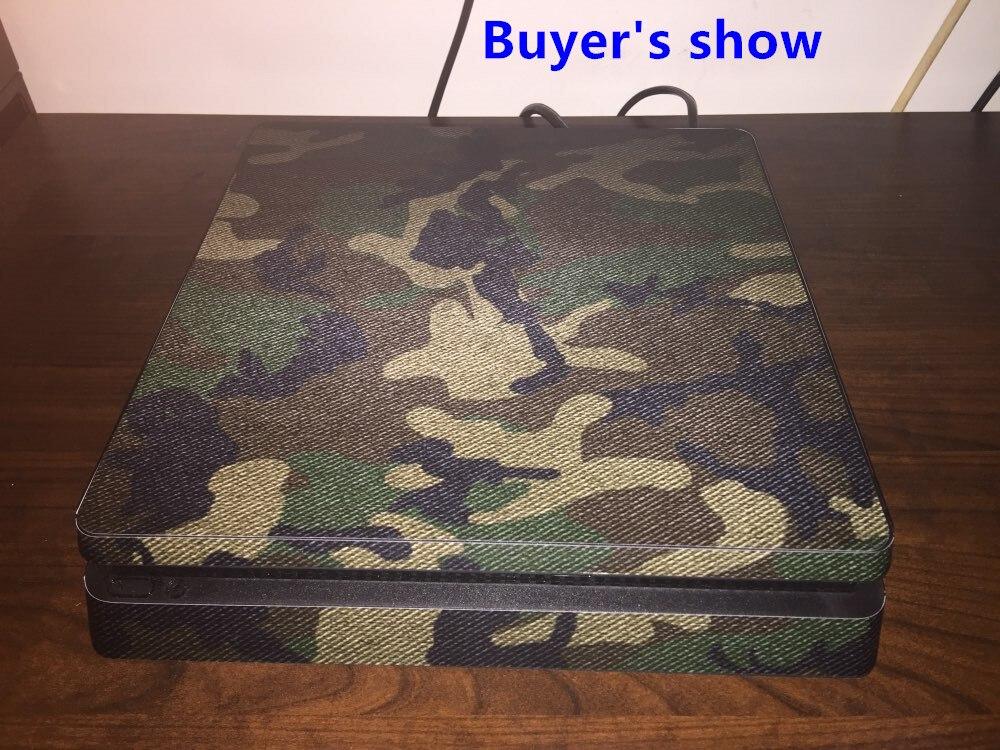 Купить с кэшбэком Camouflage Vinyl Skin Sticker Cover For PlayStation 4 Slim PS4 Slim Console+2Pcs Sticker For PS4 Slim Controller Cover Decal
