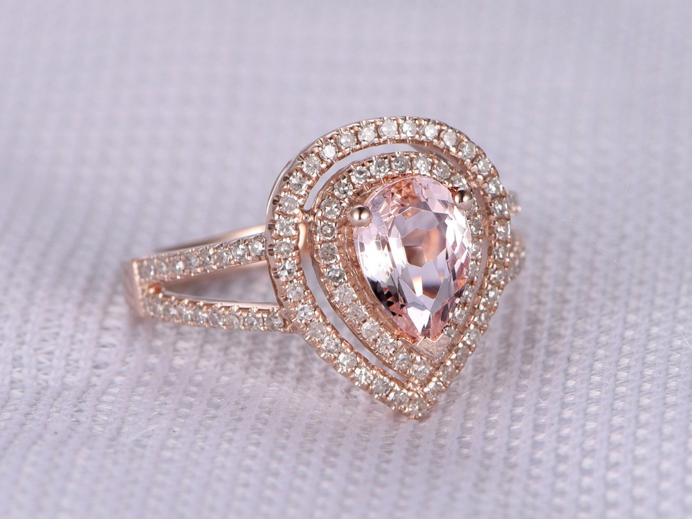 MYRAY 14k Rose Gold 6x8mm Pear Cut Natural Pink Morganite Diamond Split Shank Band Vintage Engagement Wedding Ring Women Rings