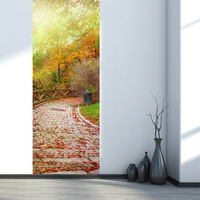Fall Leaves and Stone Road PVC Door Sticker Diy Imitation 3D Wall Decals Living Room Bathroom Water-proof Wall Sticker Poster