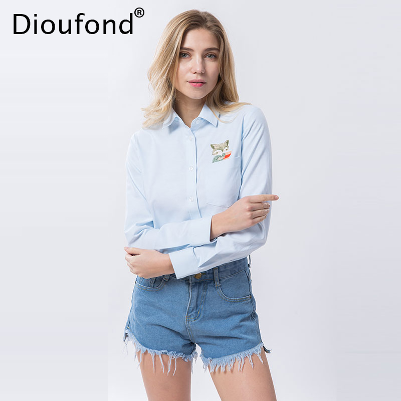 Dioufond Animal Embroidery Print Fox on Pocket Shirts Lady 2017 Spring New Fashion White Blouse