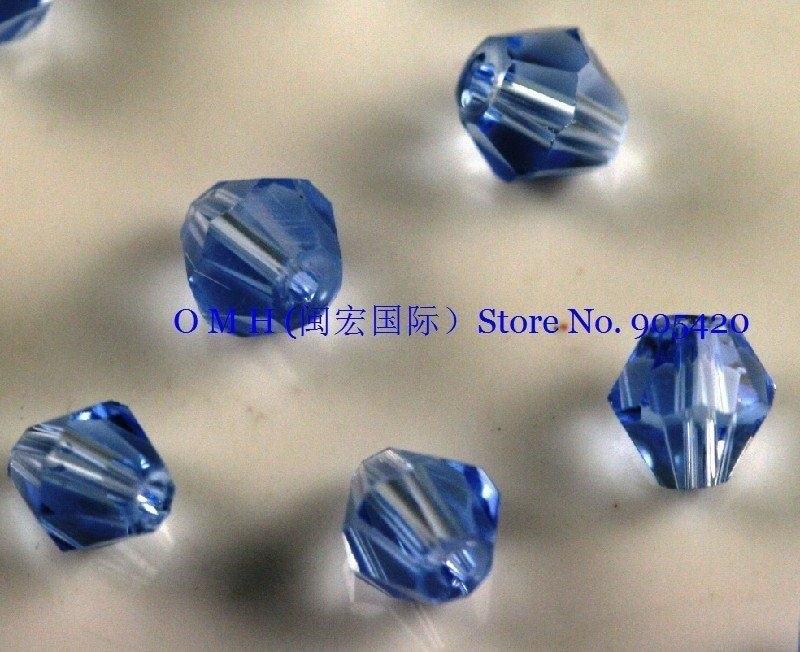 ООБ оптом! 400 шт. голубые Биконусы стекла, хрустальные бусины 4 мм sj08