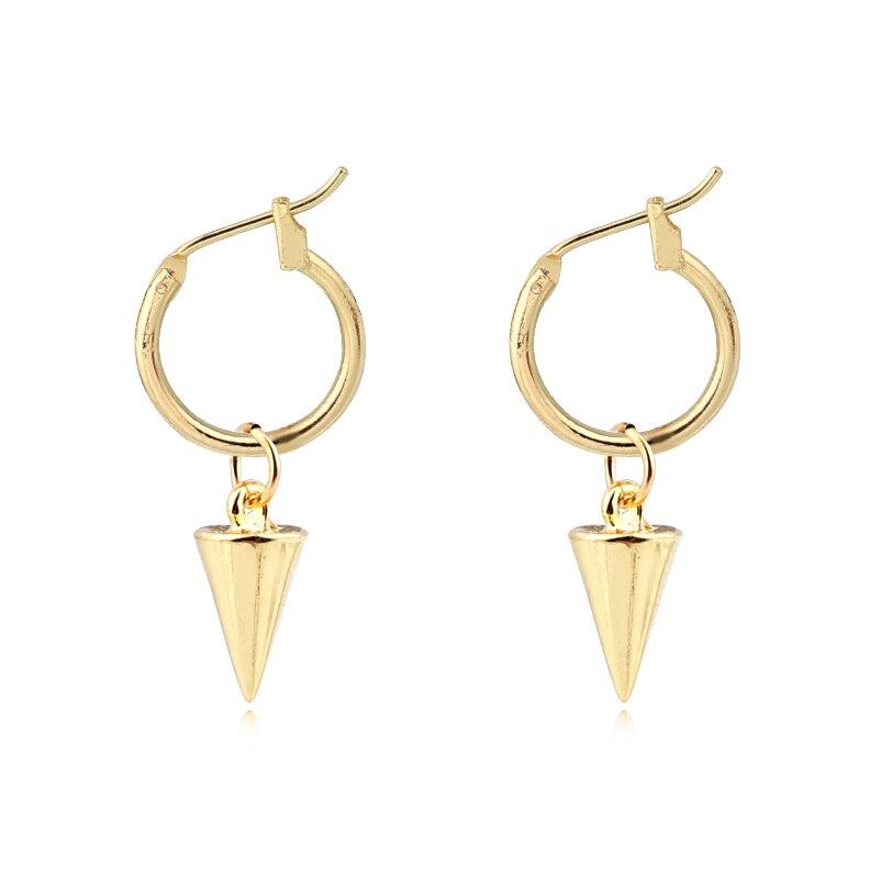 1 Paar Europäischen Einfache Neue Punk Kleine Kegel Hoop Ohrringe Mit Anhänger Gold Silber Farbe Kühle Kreis Trianglefor Frauen Jewelrye749