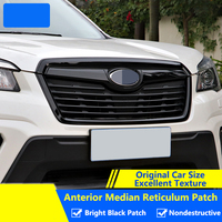 QHCP Front Grille Decoration Frame Stickers Film Decoration Trims Case Bright Black Exterior Accessory For Subaru Forester 2019