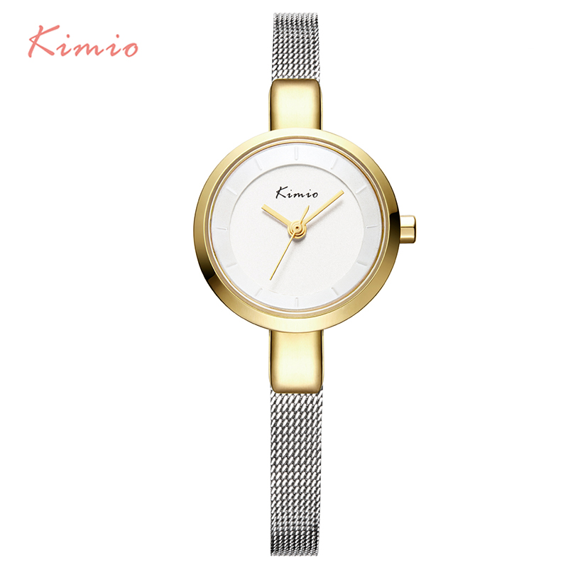 2017 New HOT Kimio Women's watches Stainless Steel fine mesh Quartz bracelet wristwatches women ladies dress watch with Gift Box kimio ultra thin women s bracelet watch ladies stainless steel dress watches with gift box relojes mujer relogios montre femme