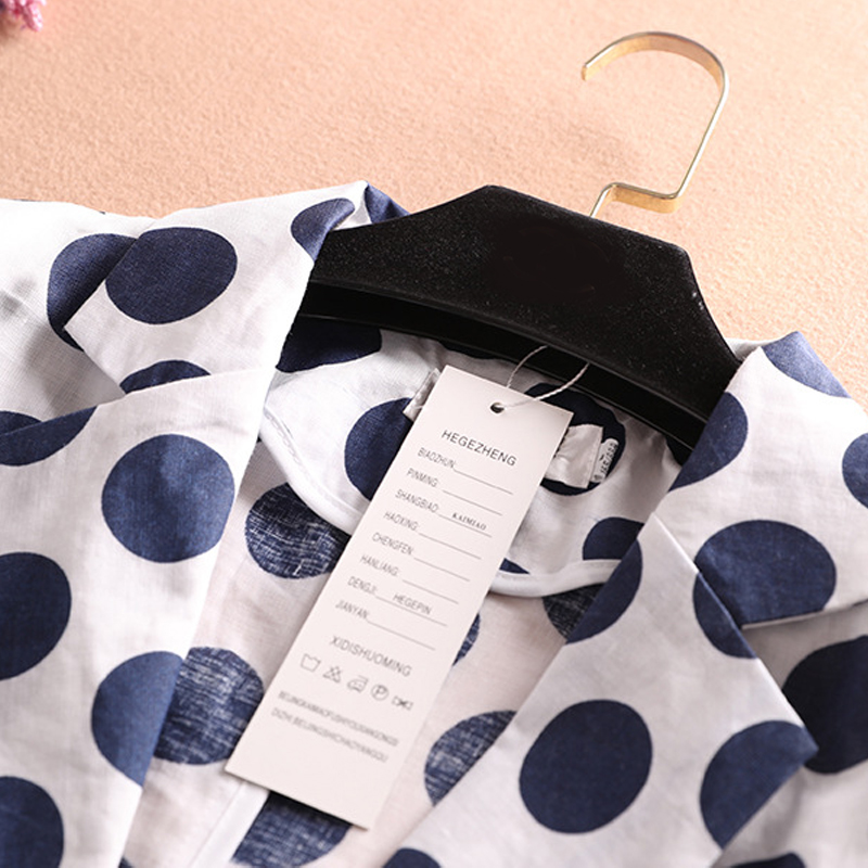 Summer Women Blazers And Jackets Casual Linen Polka Dot  3/4 Sleeve Office Blazer Korea Style Print Plus Size  Ladies Blazers