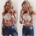 2017 Women Sexy Off Shoulder Crop Tops Elegant Floral Embroidery Sheer Mesh Long Sleeve Blouse Night Party Lace Top White Black