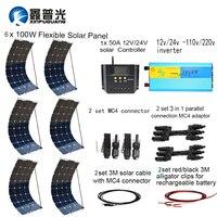 XINPUGUANG 600 Вт системы kit 100 Вт гибкие солнечные панели 1000 Вт инвертор 12 В/24 В 50A контроллер MC4 разъем Солнечная powerbank