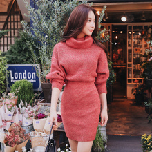 Dabuwawa Woman Winter Turtleneck Knitted Dress New Long Batwing Sleeve Elegant Midi Bodycon Dress for Office lady Girl D18DDR005 elegant turtleneck long sleeve bodycon knitted midi dress autumn winter new solid casual high stretchy office lady dress vestido
