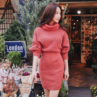 Dabuwawa Woman Winter Turtleneck Knitted Dress New Long Batwing Sleeve Elegant Midi Bodycon Dress for Office lady Girl D18DDR005