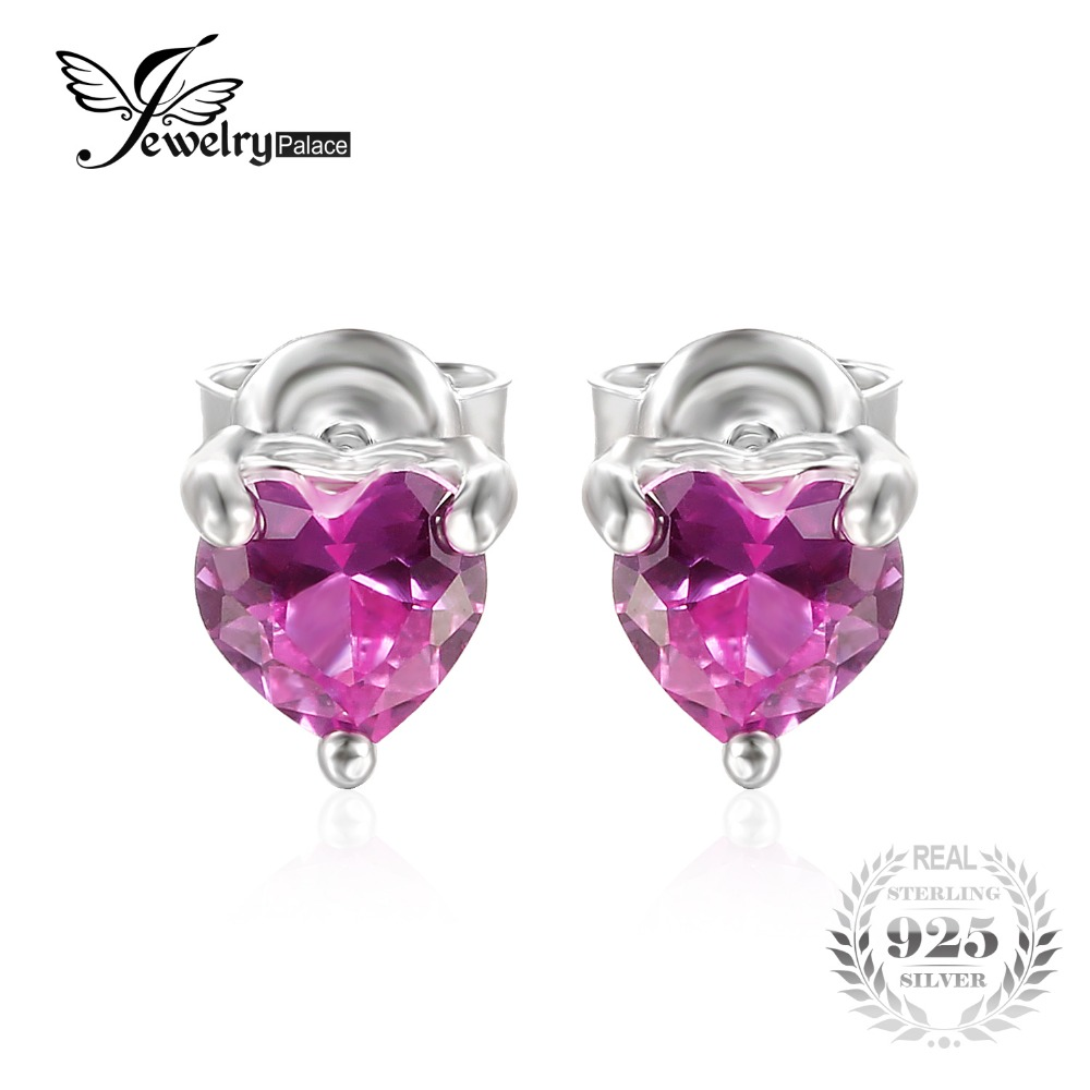 Jewelrypalace 063 Ct Created Pink Sapphire Stud Earrings 925 Sterling  Silver Romantic Heart Earrings For Women