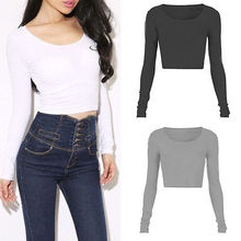 2016 Womens Ladies Long Sleeve Crop Top Round Neck tights T Shirt Blouse 3Colors Wholesale