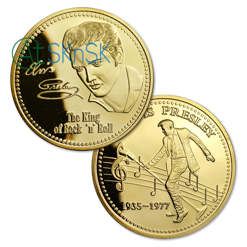 Elvis Presley 1935-1977 The King of N Rock Roll Gold Art CommemorativeCoinGiftS!
