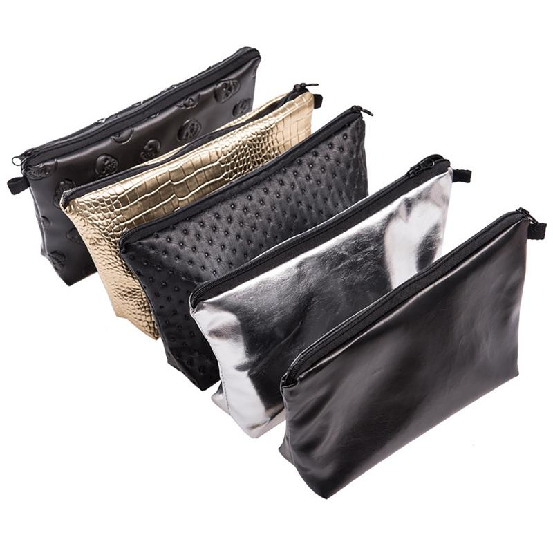 Solid Color Laser PU Leather Waterproof Multi-Functional Clutch Cosmetic Bag Change Purse Wash Bag