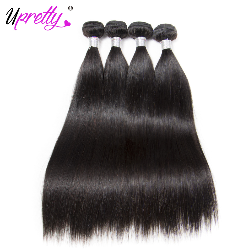 Human Hair 4 Bundles Straight Brazilian Hair Weave Bundles Deals Remy Straight Human Hair Extensions Natural Color Upretty 10-30
