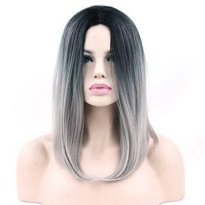 Soowee 10 kolorów syntetyczne włosy Ombre szary do włosów styl bob krótkie peruki dla czarnych kobiet peruka cosplay na przyjęcie