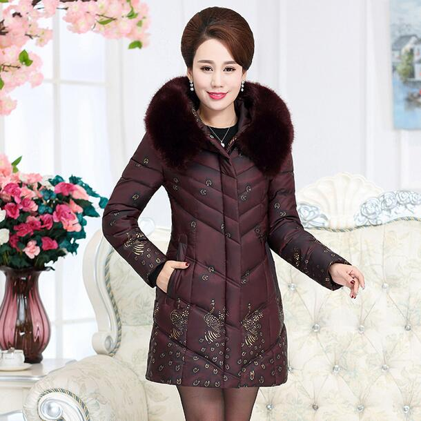 middle age women winter cotton jacket coat elderly plus size 5xl wadded thick warm long hooded faux fur collar outerwear S54 2017 winter women plus size in the elderly mother loaded cotton coat jacket casual thickening warm cotton jacket coat women 328