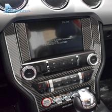 Airspeed คาร์บอนไฟเบอร์รถคอนโซลสติกเกอร์สำหรับ Ford Mustang 2015 2017 Car Center แผงควบคุม AC CD ครอบคลุมรถจัดแต่งทรงผม