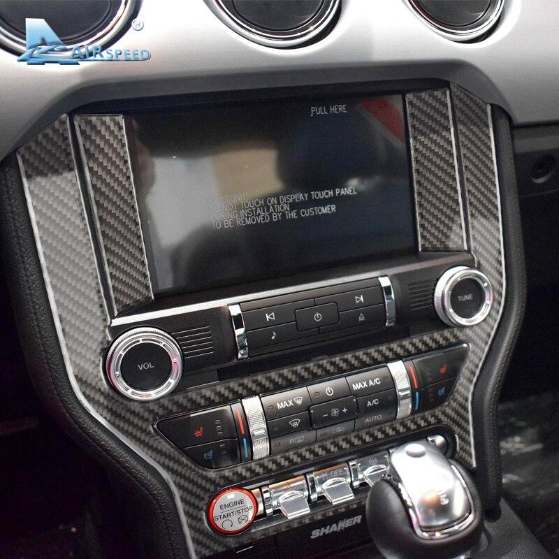 Vitesse De Voiture En Fiber de Carbone Console Cadre Autocollants Pour Ford Mustang 2015-2017 Center auto Panneau De Commande AC CD Couvre style de voiture