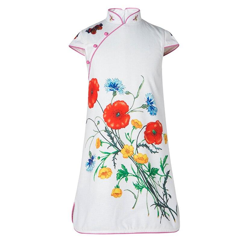 Keelorn Girls Dresses 2017 New Brand European And American Style Children Cheongsam Sleeveless White Princess Dress For 4-14Y