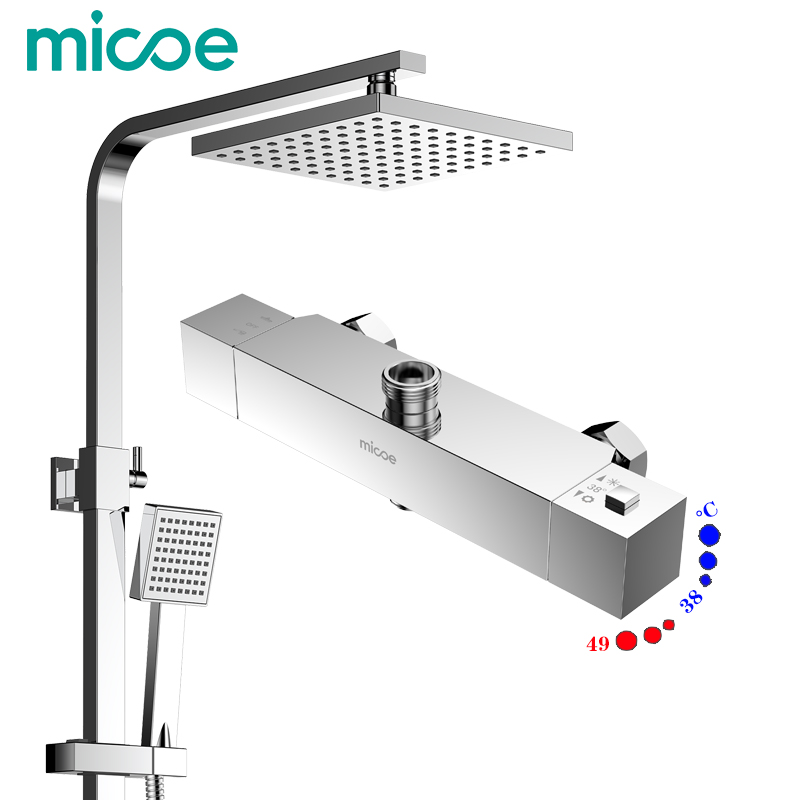 Micoe Brass Thermostatic Water Rainfall Shower Set Faucet Tub Mixer Tap Handheld Shower Wall Mounted BathroomM